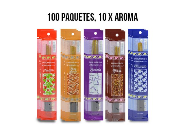 Producto #963GB SAHUMERIO POUCH X 100 PAQUETES (10 C/AROMA)