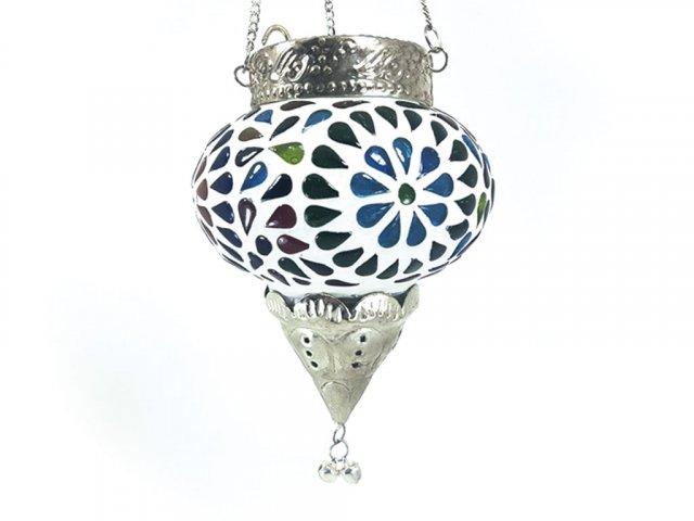 Producto #922Q LAMPARA PORTA / VELA MULTICOLOR 35X10 CM