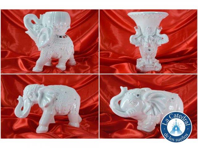 Producto #1724 ELEFANTES DE YESO BLANCOS CON STRASS GRD APROX. 23 CM