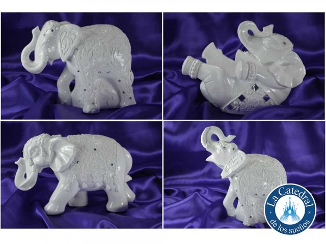 Producto #1725 ELEFANTE YESO BLANCO C/ STRASS CH APROX. 18 CM